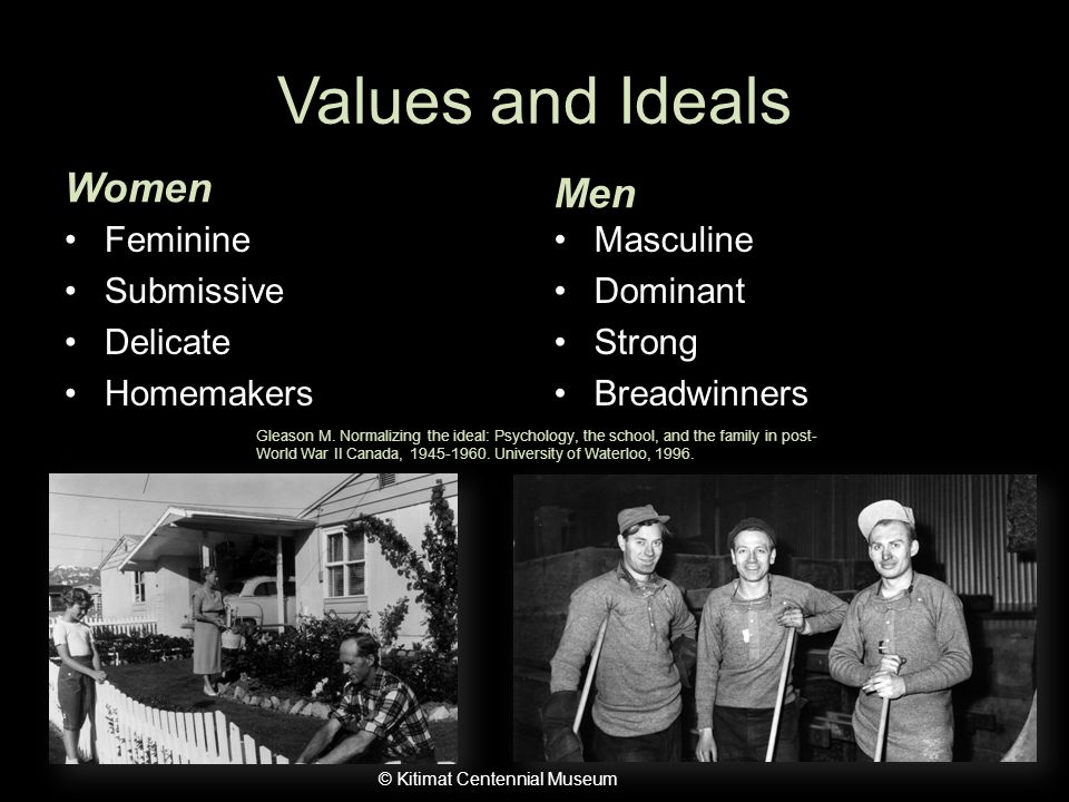 Values and Ideals Women Feminine Submissive Delicate Homemakers Men Masculine Dominant Strong Breadwinners © Kitimat Centennial Museum Gleason M.