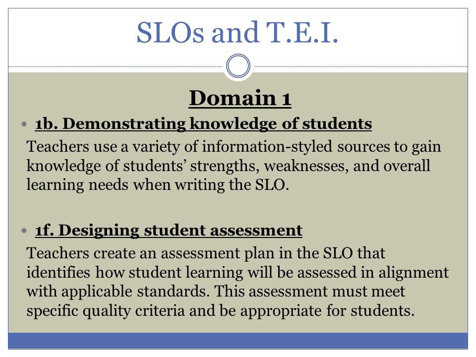 SLOs and T.E.I.Domain 3 3c.