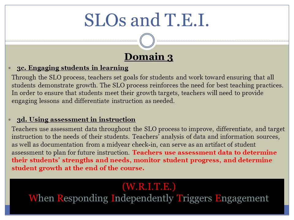When Responding Independently Triggers Engagement (W.R.I.T.E.) Begin to incorporate the third and fourth level of the DOK (Depth of Knowledge) skill set as you plan your lessons (Strategic Thinking and Extended Thinking).