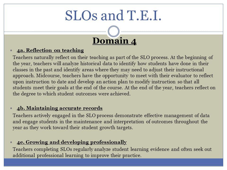 Collaborative development of an SLO is encouraged (e.g., similar content area or grade level teachers, interdisciplinary groups of educators).