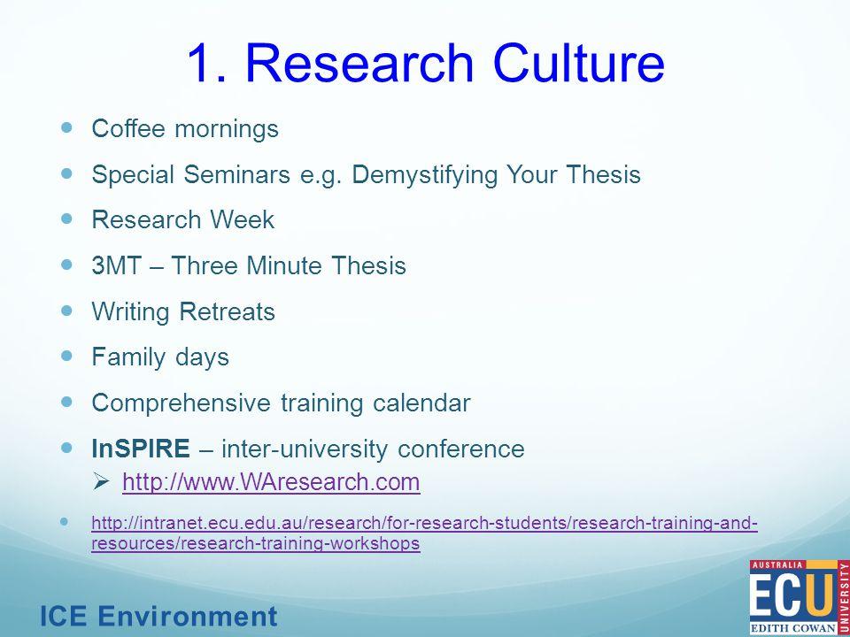 Coffee mornings Special Seminars e.g.