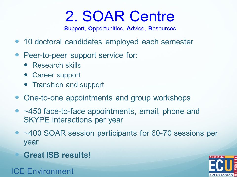 2. SOAR Centre Support, Opportunities, Advice, Resources 10 doctoral candidates employed each semester Peer-to-peer support service for: Research skil