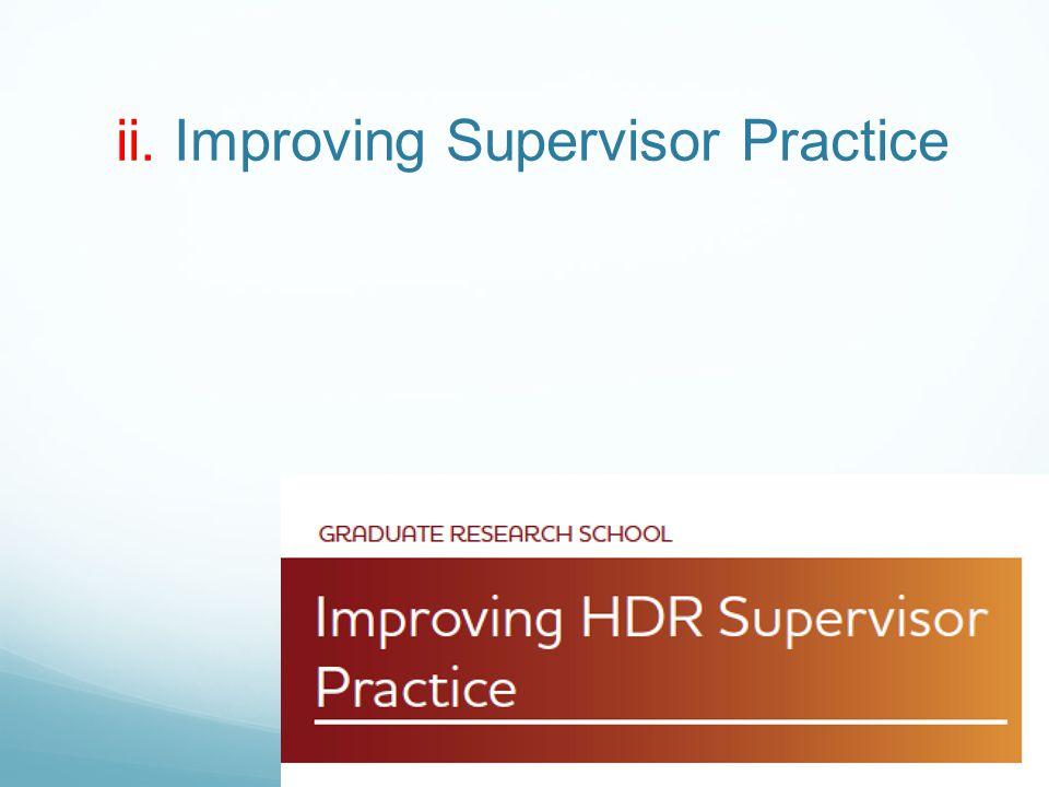 ii. Improving Supervisor Practice