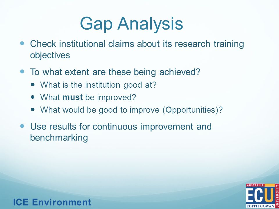 Gap Analysis Check institutional claims about its research training objectives To what extent are these being achieved.