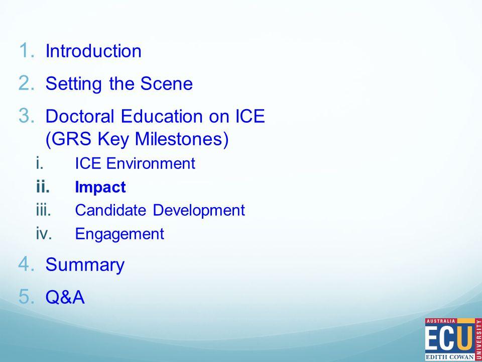 1. Introduction 2. Setting the Scene 3. Doctoral Education on ICE (GRS Key Milestones) i.