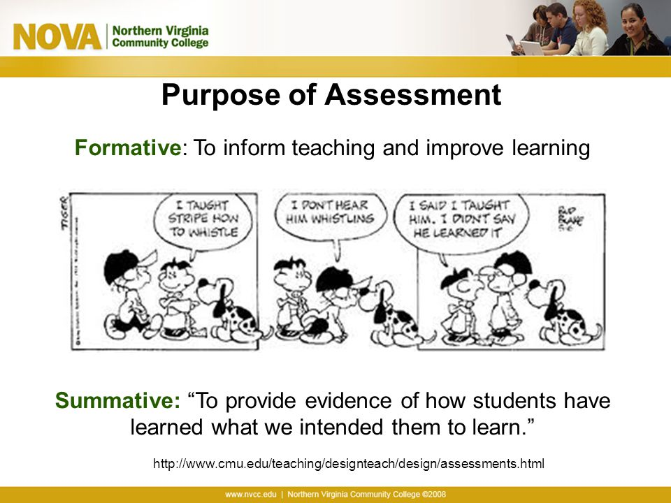 Purpose of Assessment Formative: To inform teaching and improve learning Summative: To provide evidence of how students have learned what we intended them to learn. http://www.cmu.edu/teaching/designteach/design/assessments.html