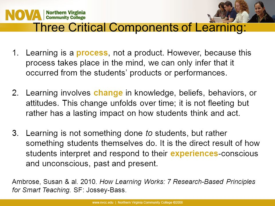Three Critical Components of Learning: 1.Learning is a process, not a product.