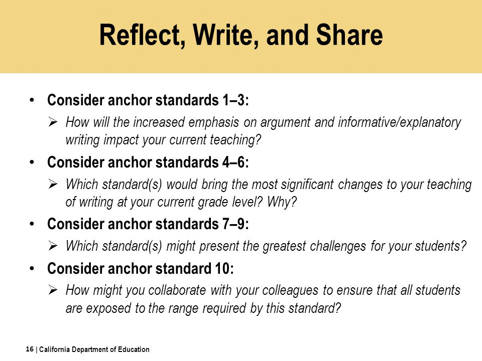 Reflect, Write, and Share Consider anchor standards 1–3:  How will the increased emphasis on argument and informative/explanatory writing impact your current teaching.