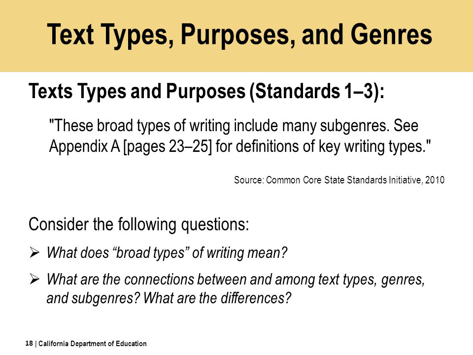 Text Types, Purposes, and Genres Texts Types and Purposes (Standards 1–3): These broad types of writing include many subgenres.