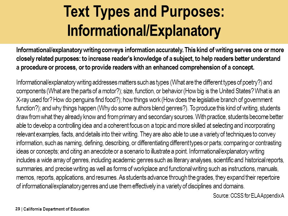 Text Types and Purposes: Informational/Explanatory Informational/explanatory writing conveys information accurately.