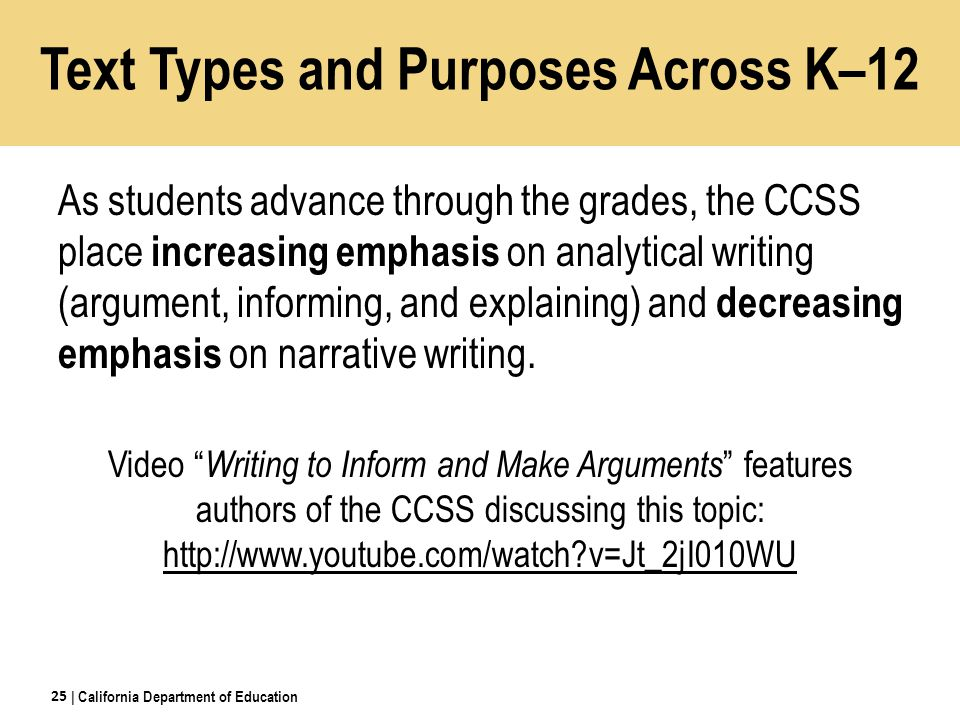 Text Types and Purposes Across K–12 As students advance through the grades, the CCSS place increasing emphasis on analytical writing (argument, informing, and explaining) and decreasing emphasis on narrative writing.