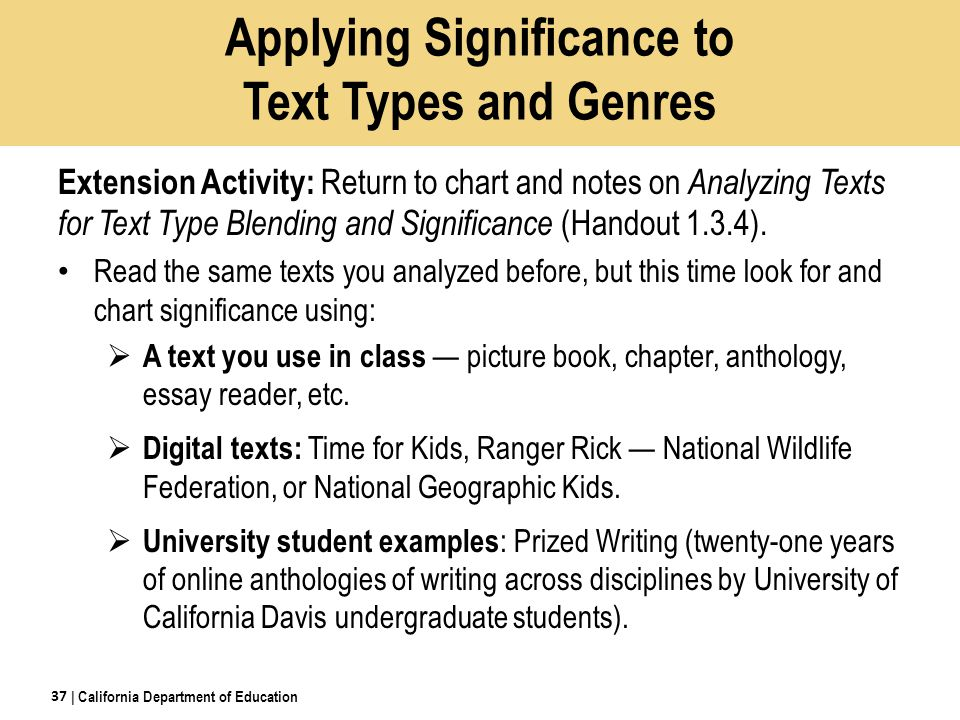 Applying Significance to Text Types and Genres Extension Activity: Return to chart and notes on Analyzing Texts for Text Type Blending and Significance (Handout 1.3.4).