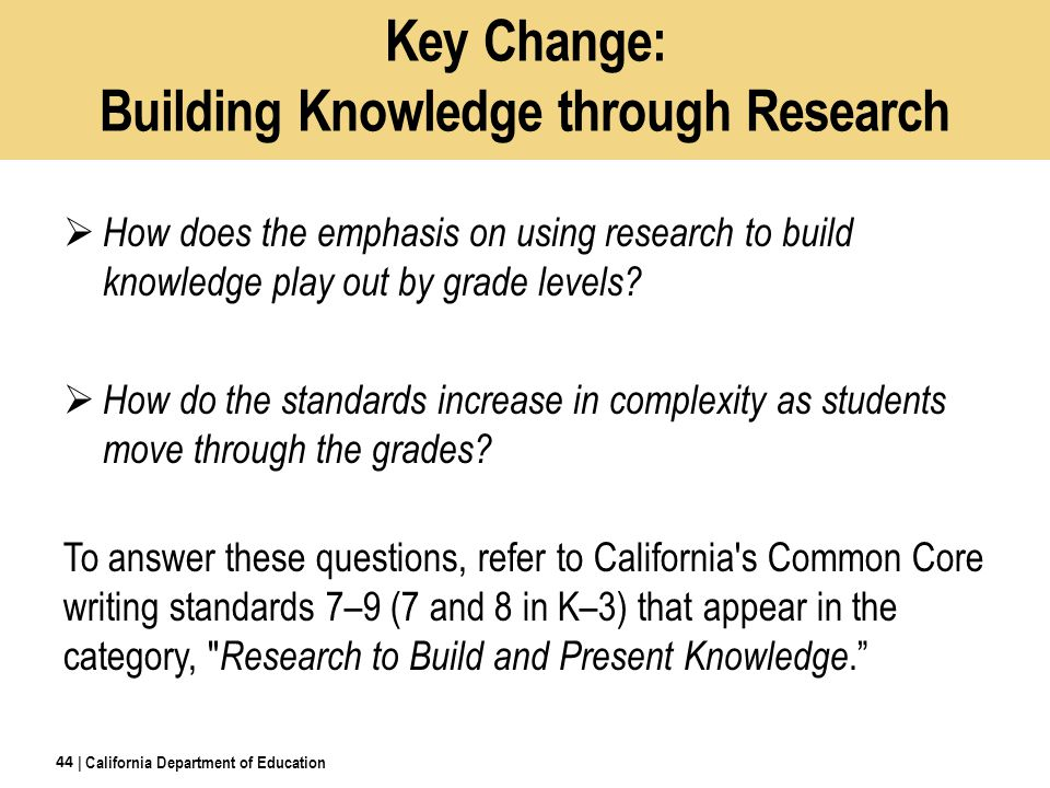 Key Change: Building Knowledge through Research  How does the emphasis on using research to build knowledge play out by grade levels.