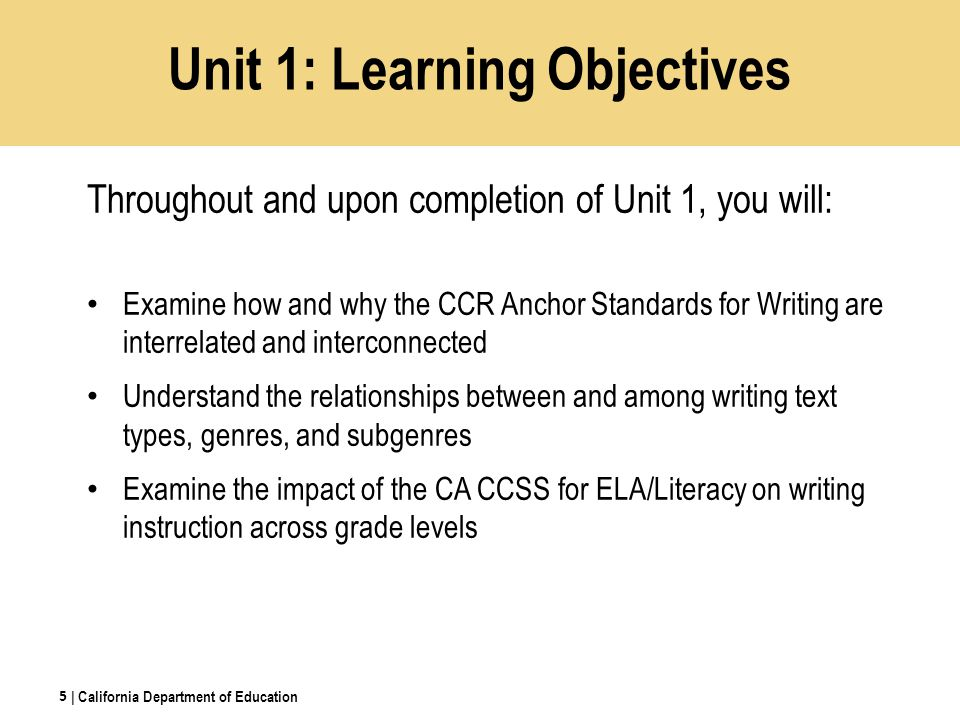 Unit 1: Learning Objectives Throughout and upon completion of Unit 1, you will: Examine how and why the CCR Anchor Standards for Writing are interrelated and interconnected Understand the relationships between and among writing text types, genres, and subgenres Examine the impact of the CA CCSS for ELA/Literacy on writing instruction across grade levels 5 | California Department of Education