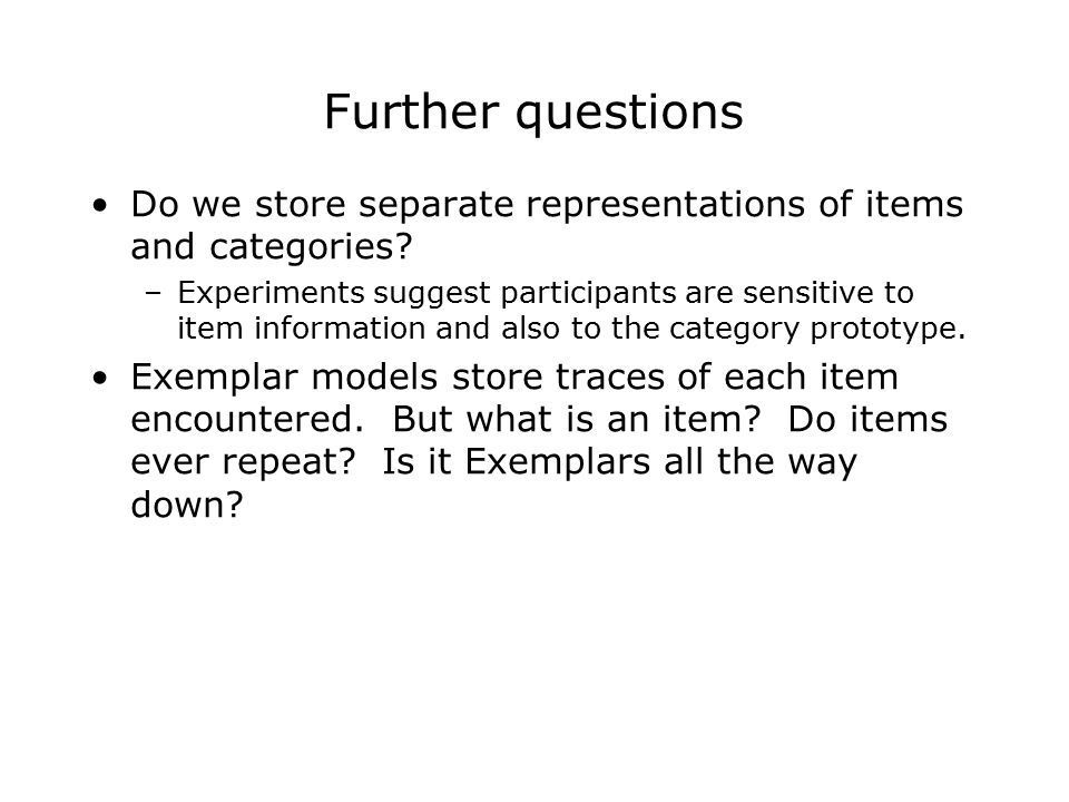 Further questions Do we store separate representations of items and categories.