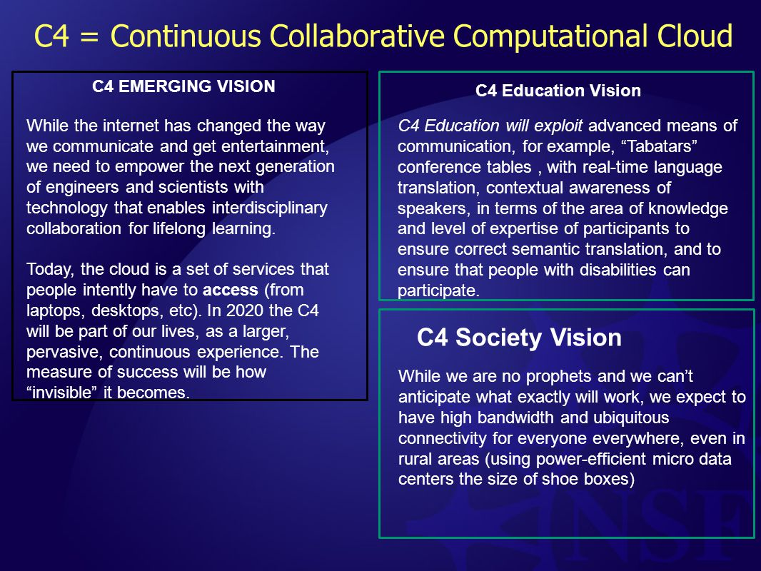 C4 = Continuous Collaborative Computational Cloud C4 EMERGING VISION While the internet has changed the way we communicate and get entertainment, we need to empower the next generation of engineers and scientists with technology that enables interdisciplinary collaboration for lifelong learning.
