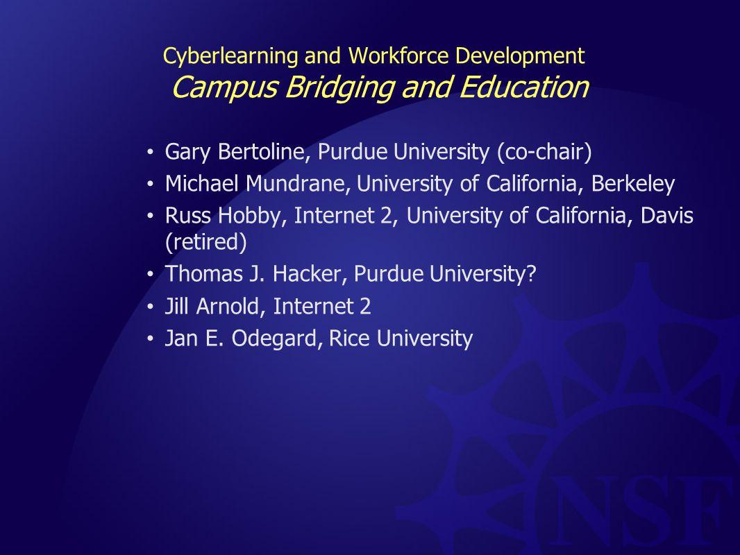 Cyberlearning and Workforce Development Campus Bridging and Education Gary Bertoline, Purdue University (co-chair) Michael Mundrane, University of California, Berkeley Russ Hobby, Internet 2, University of California, Davis (retired) Thomas J.