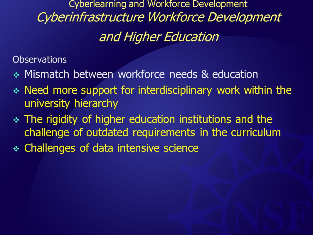 Cyberlearning and Workforce Development Cyberinfrastructure Workforce Development and Higher Education Observations  Mismatch between workforce needs & education  Need more support for interdisciplinary work within the university hierarchy  The rigidity of higher education institutions and the challenge of outdated requirements in the curriculum  Challenges of data intensive science