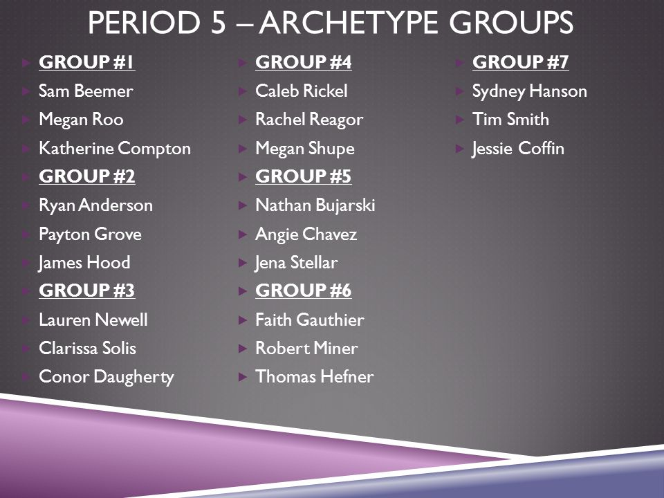 PERIOD 5 – ARCHETYPE GROUPS  GROUP #1  Sam Beemer  Megan Roo  Katherine Compton  GROUP #2  Ryan Anderson  Payton Grove  James Hood  GROUP #3  Lauren Newell  Clarissa Solis  Conor Daugherty  GROUP #4  Caleb Rickel  Rachel Reagor  Megan Shupe  GROUP #5  Nathan Bujarski  Angie Chavez  Jena Stellar  GROUP #6  Faith Gauthier  Robert Miner  Thomas Hefner  GROUP #7  Sydney Hanson  Tim Smith  Jessie Coffin