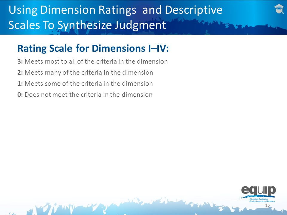 15 Using Dimension Ratings and Descriptive Scales To Synthesize Judgment Rating Scale for Dimensions I–IV: 3: Meets most to all of the criteria in the dimension 2: Meets many of the criteria in the dimension 1: Meets some of the criteria in the dimension 0: Does not meet the criteria in the dimension