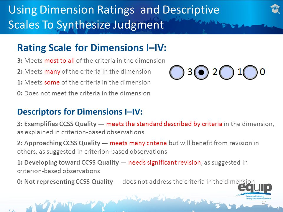 17 Using Dimension Ratings and Descriptive Scales To Synthesize Judgment Rating Scale for Dimensions I–IV: 3: Meets most to all of the criteria in the dimension 2: Meets many of the criteria in the dimension 1: Meets some of the criteria in the dimension 0: Does not meet the criteria in the dimension Descriptors for Dimensions I–IV: 3: Exemplifies CCSS Quality — meets the standard described by criteria in the dimension, as explained in criterion-based observations 2: Approaching CCSS Quality — meets many criteria but will benefit from revision in others, as suggested in criterion-based observations 1: Developing toward CCSS Quality — needs significant revision, as suggested in criterion-based observations 0: Not representing CCSS Quality — does not address the criteria in the dimension
