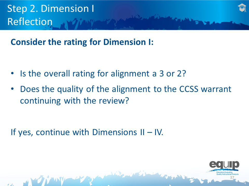 37 Consider the rating for Dimension I: Is the overall rating for alignment a 3 or 2.