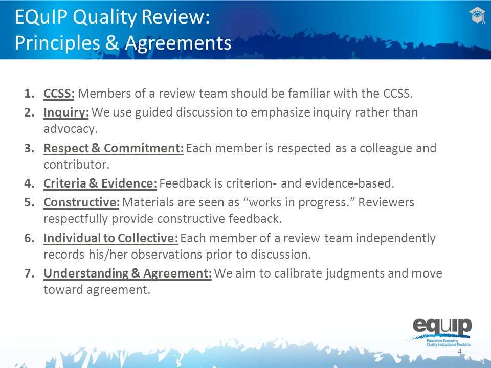 1.CCSS: Members of a review team should be familiar with the CCSS.