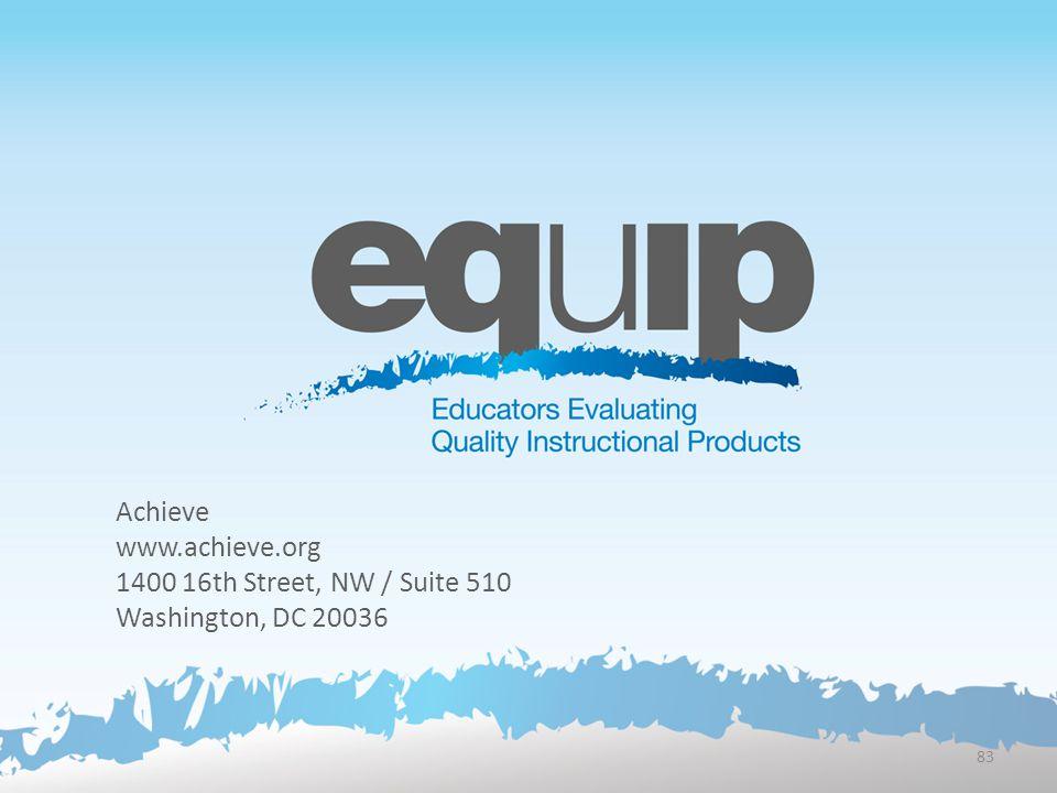 Achieve www.achieve.org 1400 16th Street, NW / Suite 510 Washington, DC 20036 83