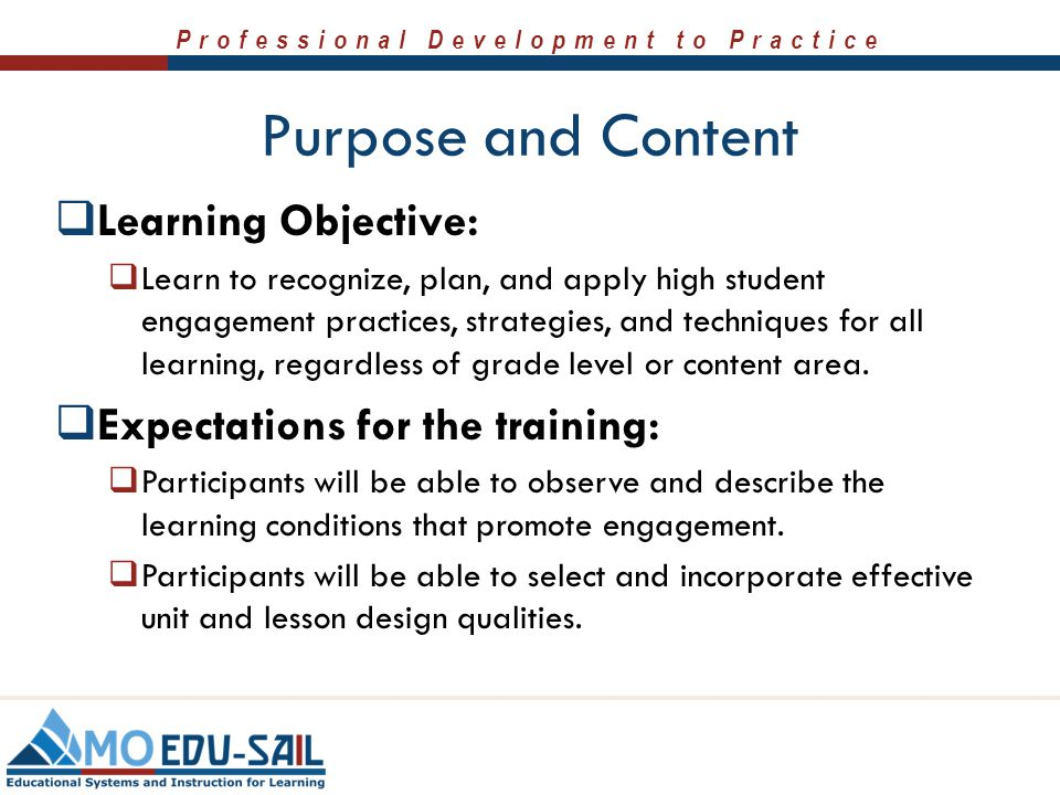 Professional Development to Practice Purpose and Content  Learning Objective:  Learn to recognize, plan, and apply high student engagement practices