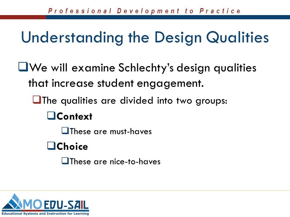 Professional Development to Practice Understanding the Design Qualities  We will examine Schlechty's design qualities that increase student engagemen