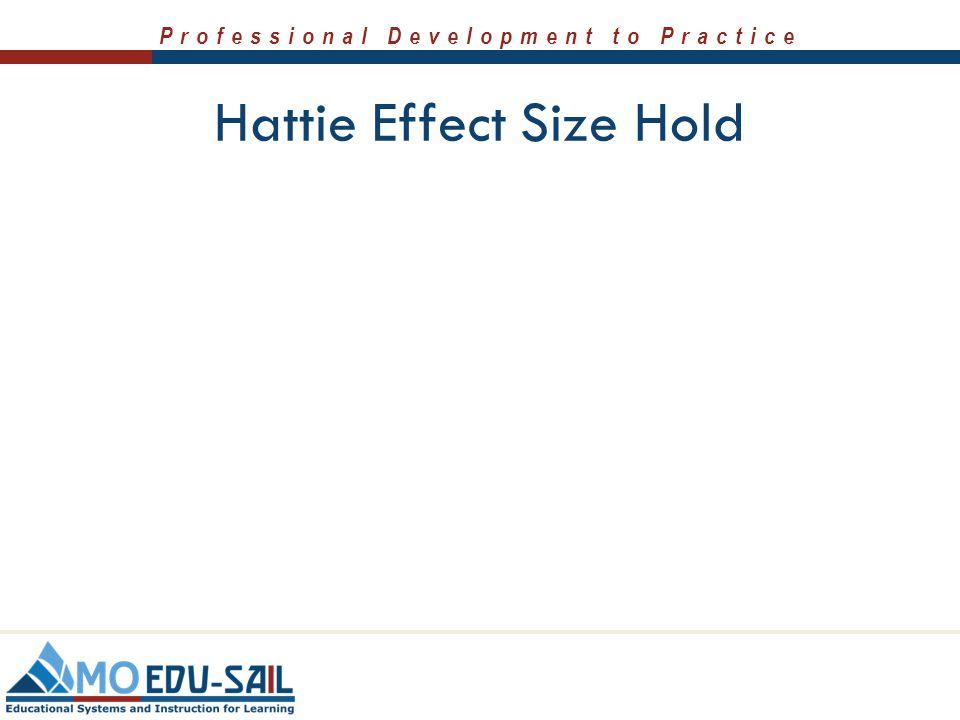 Professional Development to Practice Hattie Effect Size Hold
