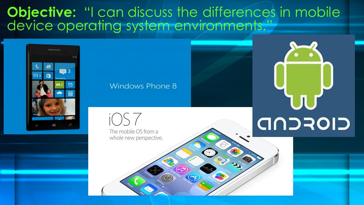 Objective: I can discuss the differences in mobile device operating system environments.