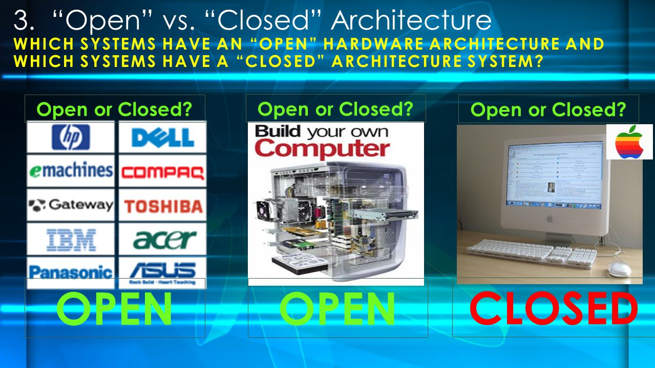 WHICH SYSTEMS HAVE AN OPEN HARDWARE ARCHITECTURE AND WHICH SYSTEMS HAVE A CLOSED ARCHITECTURE SYSTEM.