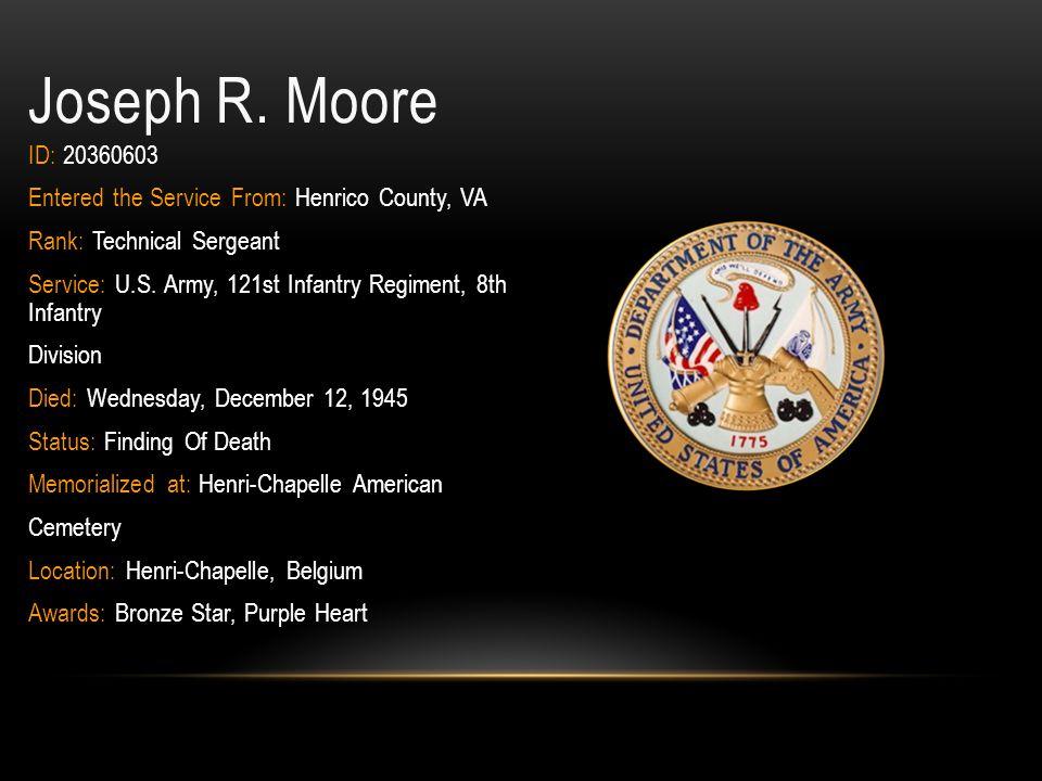 Alvin Reade Moore Rank: Seaman, Second Class Hometown: Richmond City, VA Military Branch: Navy