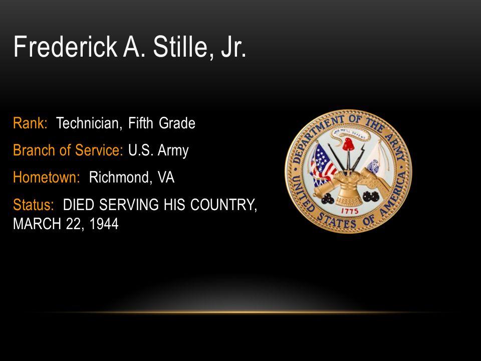 John M.Steinbrecher, Jr. Rank: Corporal Branch of Service: U.S.
