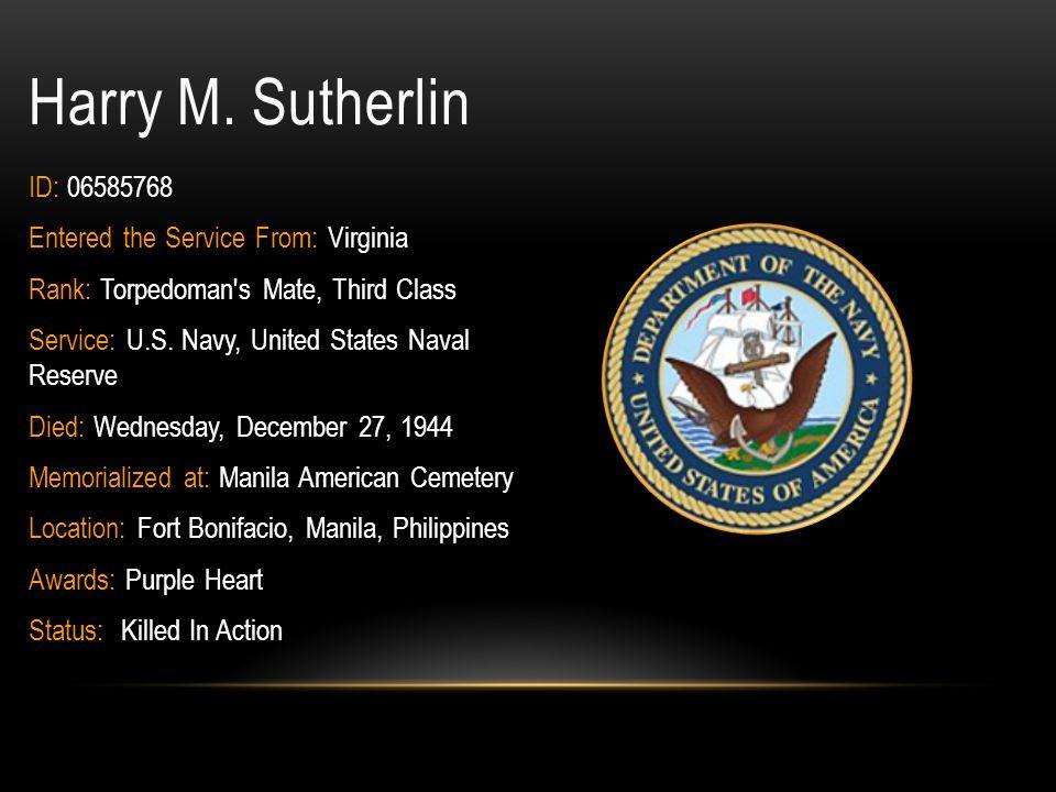 Paul E.Stryker Jr. ID: 0-887155 Rank: First Lieutenant Military Branch: U.S.