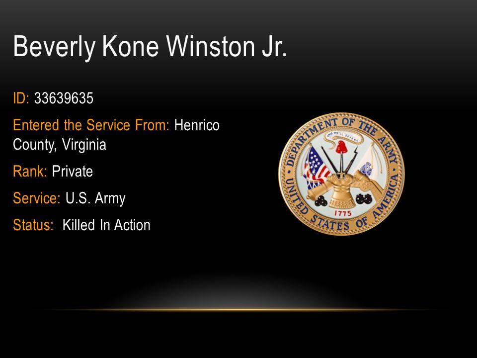 Herbert E.Wilkinson ID: 7023187 Rank: Private Military Branch: U.S.