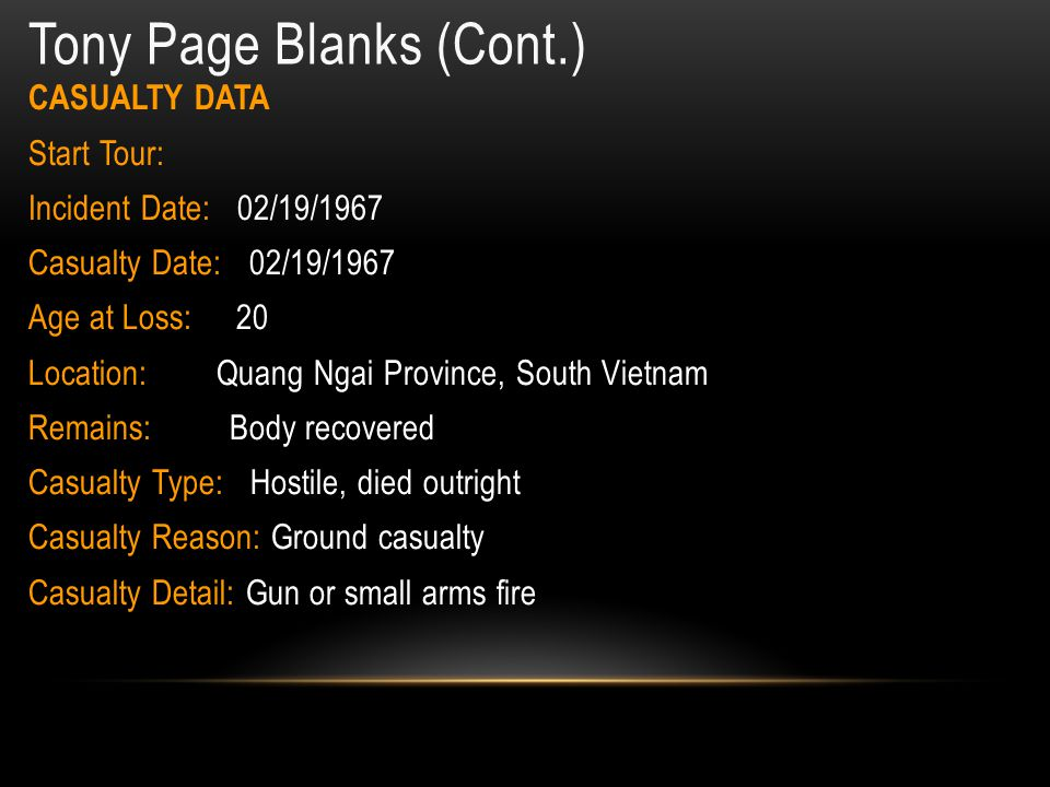 Tony Page Blanks Home of Record: Richmond, VA Date of birth: 08/06/1946 Service: United States Marine Corps Rank: Private First Class ID No: 2204324 Unit: D CO, 1ST BN, 4TH MARINES, 3RD MARDIV, III MAF Casualty Date: 02/19/1967 Age at Loss: 20 Location: Quang Ngai Province, South Vietnam Remains: Body recovered