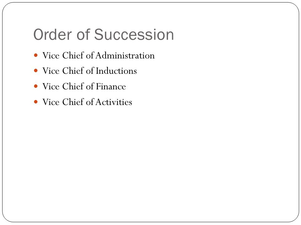 Order of Succession Vice Chief of Administration Vice Chief of Inductions Vice Chief of Finance Vice Chief of Activities