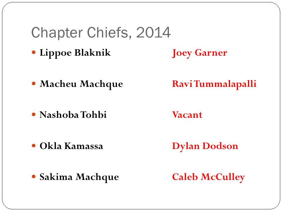 Chapter Chiefs, 2014 Lippoe BlaknikJoey Garner Macheu MachqueRavi Tummalapalli Nashoba TohbiVacant Okla KamassaDylan Dodson Sakima MachqueCaleb McCulley