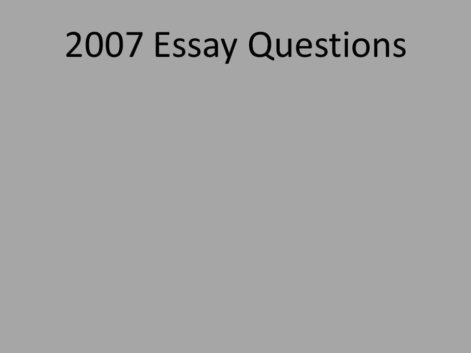 2007 Essay Questions