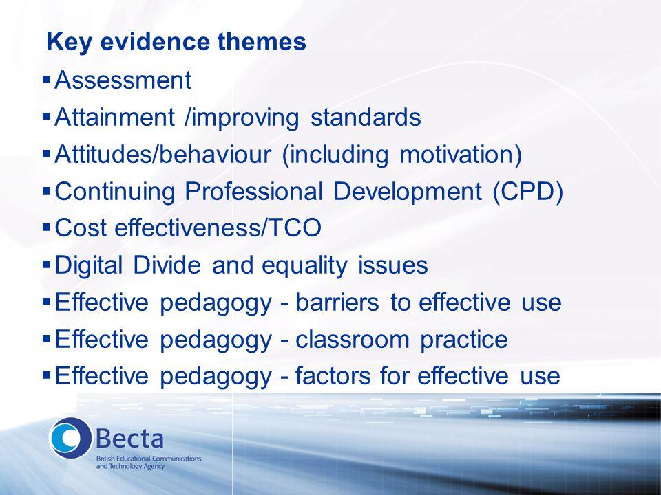  Assessment  Attainment /improving standards  Attitudes/behaviour (including motivation)  Continuing Professional Development (CPD)  Cost effecti