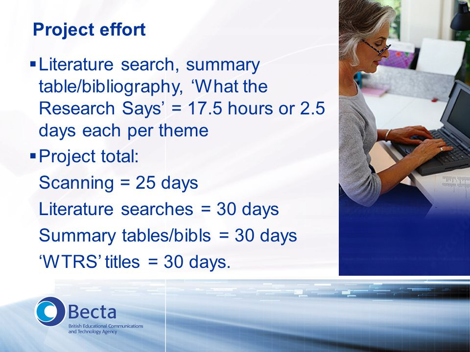  Literature search, summary table/bibliography, 'What the Research Says' = 17.5 hours or 2.5 days each per theme  Project total: Scanning = 25 days
