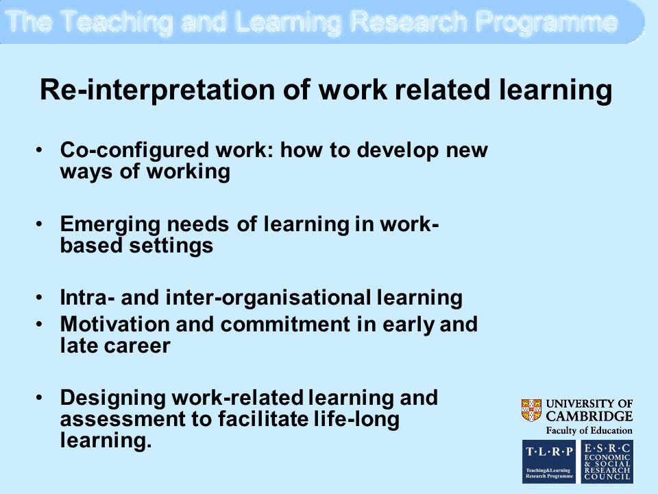 Re-interpretation of Lifelong Learning Initial education and training and qualifications systems need to take cognisance of the importance of developing a positive attitude towards lifelong learning Development of learning careers over the life-course Crossing boundaries between institutional and non- institutional learning Transformation of approaches to learning The meaning of the social and cultural context of learning The significance of transfer in learning Learning as empowerment.