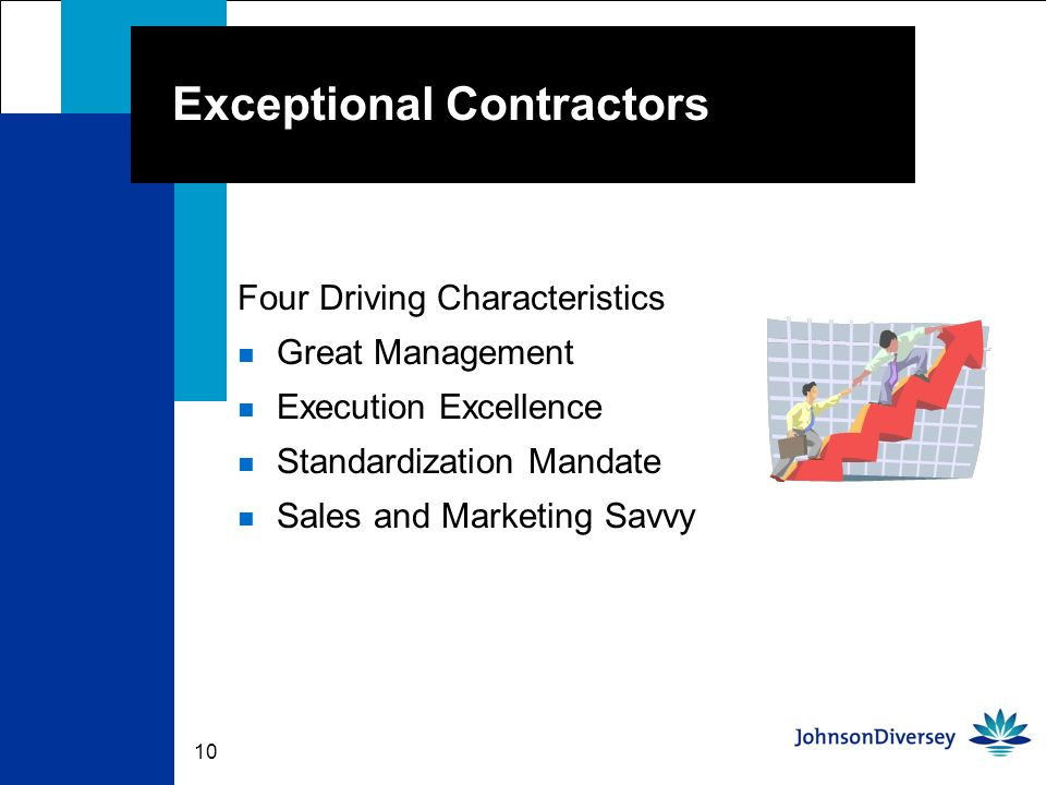 10 Exceptional Contractors Four Driving Characteristics n Great Management n Execution Excellence n Standardization Mandate n Sales and Marketing Savvy