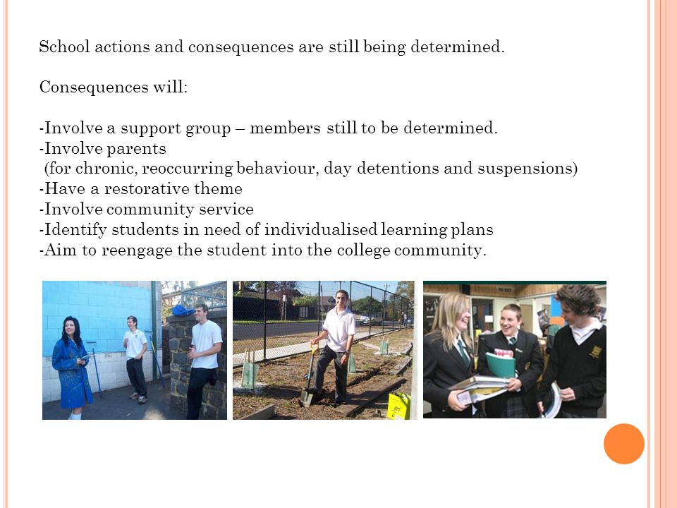 School actions and consequences are still being determined. Consequences will: -Involve a support group – members still to be determined. -Involve par