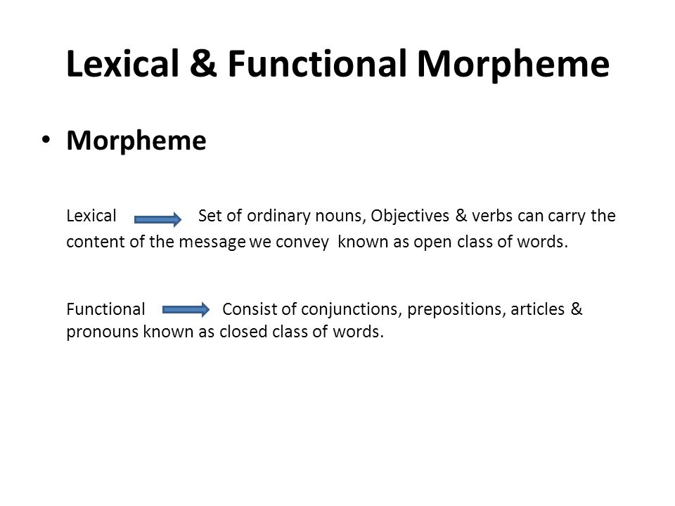 Lexical & Functional Morpheme Morpheme Lexical Set of ordinary nouns, Objectives & verbs can carry the content of the message we convey known as open class of words.