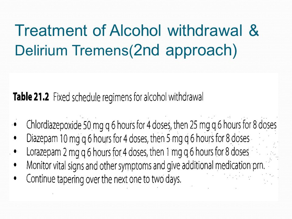 Treatment of Alcohol withdrawal & Delirium Tremens( 2nd approach)