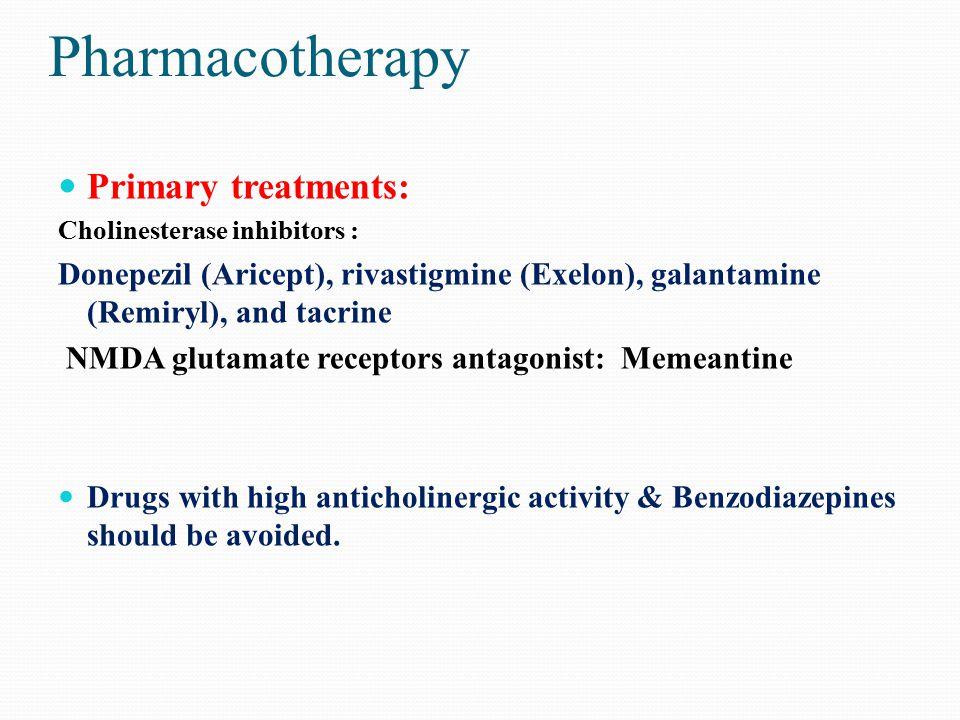 Pharmacotherapy Primary treatments: Cholinesterase inhibitors : Donepezil (Aricept), rivastigmine (Exelon), galantamine (Remiryl), and tacrine NMDA gl