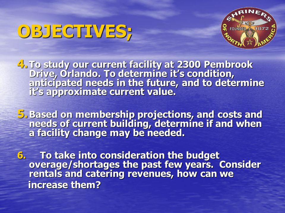 OBJECTIVES; 4. To study our current facility at 2300 Pembrook Drive, Orlando.